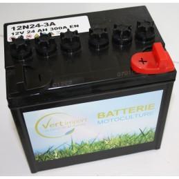 Batterie tracteur tondeuse 12N24-3A, 12 V, 24 Ah sans acide