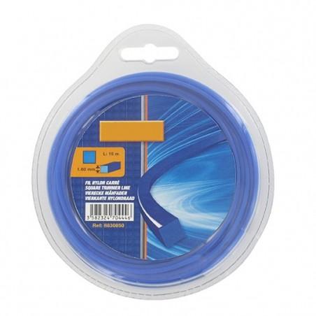 Fil nylon carré Ø 1,6 mm pour coupe-bordures et débroussailleuse (blister)