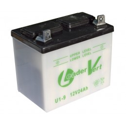Batterie tracteur tondeuse SANS ACIDE U19, 12 V, 24Ah, borne + à gauche
